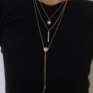 Set of Four (4) Rose Gold Stacking Necklaces